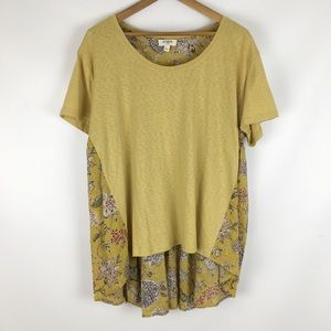 Umgee | mustard floral two toned tee 0663